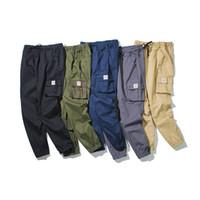 Новые пять-2019 цвет плюс-размер мужская весна/осень брюки все-Матч мульти-карман пояс тощий карандаш брюки s-формы 5XL