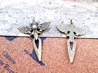 18pcs - pendentifs en argent antique d'épée du grand ange 48 * 34mm