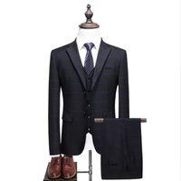 (Jacket + Vest + Pants) abiti da uomo 2017 Moda uomo abiti da sposa Slim Fit Cappotto Stripe Smoking Prom Abiti Classici vestito pieno taglia S-5XL terno
