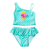 UPF 50+ Toddler Swimsuit Dot 3D Rose Ice Cream Applique Sequ...
