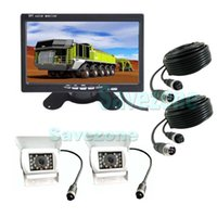 "2 x 12V 24V White Car Reverse Backup Camera 4Pin + 7"" L..."