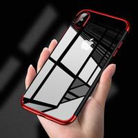 Para o iphone x 8 7 6 s além disso samsung s9 case transparente limpar fina capa protetora chapeamento premium flexível macio tpu bumper case