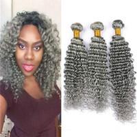 Onda profunda Rizado Cabello humano gris 3 paquetes 300g Extensiones de cabello peruanos vírgenes Tejido de cabello ondulado gris Trama doble Trama mixta Longitud
