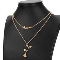 Dupla camada rosa letras amor gargantilha colar mulheres cadeia pingente curto garganta presente para amor casal acessórios de jóias
