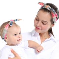 2 Adet / takım DIY Anne Anne Kız Tavşan Kulaklar Kafa Ekose Yay Hairband Turban Knot Headwrap Saç Bandı Aksesuarları