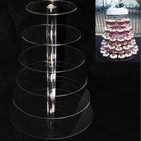 Suporte redondo do bolo do suporte da série de 6 suportes do bolo para o suporte ZA5613 do queque da decoração do bolo da festa de casamento