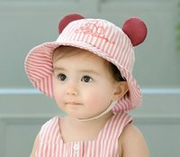 Baby Mickey Ear Stripe Bucket Hats with Embroidery 2018 Kids...