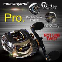 Fishdrops 17 + 1BB Baitcasting Angelrolle 7.0: 1 Köder Casting Linke / Rechte Hand Rel mit One Way Clutch Fish Pesca Reel