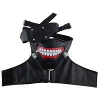 Sıcak Satış Takerlama Kaneki Ken Yüz Maskeleri Fermuar Bisiklet Anti-Toz Anime Tokyo Ghoul Cosplay Maske