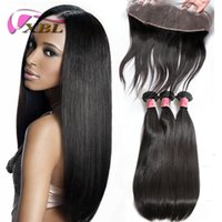 XBL Straight Human Hair Extensions Lace Frontal With Bundles...