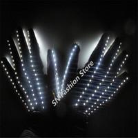 T15 светодиодные перчатки освещение костюмы бальные танцы реквизит белый цвет две стороны легкие перчатки взрыв модель перчатки партии DJ диско носит производительность