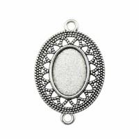 15 Pièces Cabochon base Cameo Plateau Bezel Fournitures vierges pour les bijoux de fleur Taille intérieure connecteur 13x18mm Collier pendentif ovale réglage
