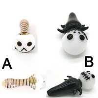 Terror Halloween Glass Pipe 4 pulgadas Oil Burner 4.4 pulgadas Fantasma Smoking Pipes Stripe Spoon Pipe Party Hand Pipe Scarey Horror Dry Tobacco Pipes