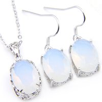 Luckyshine 5 sets vriend familie cadeau witte opaal ovale oorbellen en hanger ketting ketting 925 zilveren vrouwen mode bruiloft sets gratis shippin