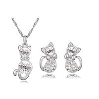 Cat Set di gioielli realizzati con Swarovski Elements Crystal White Gold Color Moda collana a forma di animale e orecchini per ragazze