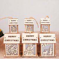 Led 크리스마스 나무 집 오두막 장식 산타 클로스 엘크 순 록 벨 크리스마스 트리 매달려 장신구 장식 매달려 크리스마스 선물