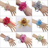 Misturar Cores Flor De Pulso De Noiva Corsage Da Dama De Honra Irmãs Mão Flores De Casamento Flores De Seda Artificial Bracelet
