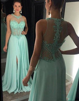 Mint Green Plus Size Prom Dresses A Line Jewel Crystal Beadings Chiffon Evening Gowns Formal Dresses