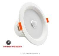 Adocks Infrared Induction LED Downlight 6W 12W 110-240V Encastré Plafond Spot Lampe 3 Pouces 5 Pouces IR Capteur Blanc Corridor Corps