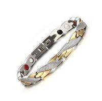Lusso 9mm 20CM Uomo Oro Argento Bracciale Magneti Pietra Solido in acciaio inossidabile Link polsini Gioielli regalo