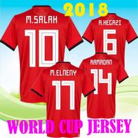 21b38663e Wholesale cheap price 2018 Egypt Jersey soccer M. SALAH world cup Home Red 2018  KAHRABA Mens short sleeve footbal SHIRT maillot de foot
