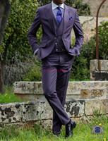 Yeni Moda Mor 3 Parça Suit Erkekler Düğün Smokin Mükemmel Damat Smokin Erkekler Iş Yemeği Balo Blazer (Ceket + Pantolon + Kravat + Yelek) 483