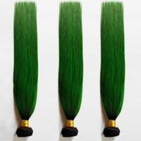 Schöne Weihnachten haar Brasilianische Malaysische Reine Menschliche staright Haareinschlagfaden sexy 1B / grün 8-28 zoll Omber Europäischen Remy Haarverlängerung 3 stücke