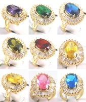 Großhandelslila grünes blaues rotes gelbes rosa Zirkonia-Gold überzogener Kristallring SZ 6-9