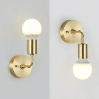 Lâmpadas de parede de quarto minimalista lâmpadas europeias espelho de banho luz única cabeça de latão vintage luz para corredor balcão sconce