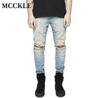 MCCKLE  Designer Slim Fit Ripped Jeans Men Hi-Street Mens Distressed Denim Biker Knee Holes Washed Destroyed Jeans