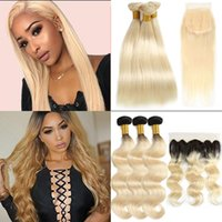 8A Brazilian 613 Ombre Straight Human Hair Bundles with Clos...