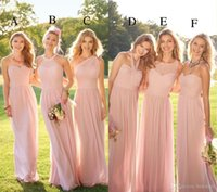 2018 Pastel Pink Cheap Long Lace Chiffon Bridesmaid Dresses ...