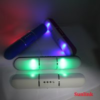 bluetooth speaker long Led Light Flash Loudspeaker Portable ...