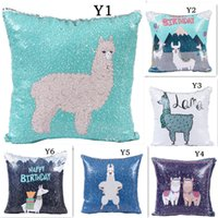 Mermaid Sequins Sofa Pillow Case Cartoon Alpaca Cushion Cove...