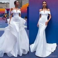 2020 Overskirt Mermaid Gelinlik Ayrılabilir Tren Kapalı Omuz Gelin Törenlerinde Trompet Saten Vestido De Novia