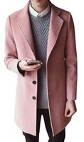 Mens Casual Wollen Coat Single Breasted Long Pea Coat Trench...