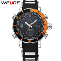 WEIDE de la marca del reloj del deporte del cronómetro automático Fecha 30M resistente al agua cuarzo grande redonda Dial manera ocasional de color anaranjado relojes de los hombres