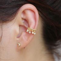 1 unid Delicados Ear Cuff Pendientes Redondos Para Las Mujeres Cuelgan Crystal Rhinestone Drop Pendant Wrap Clip Pendientes Faux Piercing Jewelry