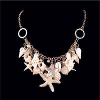Collar al por ma elemento nuevo de la manera del viento de la playa concha Shell Estrella colgante, collar de piedras preciosas Moonlight Océano Para Accesorio de joyería de las mujeres