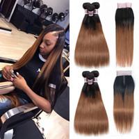 실키 스트레이트 1B / 30 2 톤 컬러 인간의 머리카락 3 개 묶음 (4x4 레이스 클로저) Medium 적갈색 옴 브레 브라질 버진 헤어 위브 익스텐션