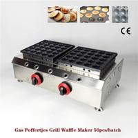 Gaz Hollandalı Kurabiye Izgara Poffertjes Waffle Baker Makinesi Çift Kafaları Paslanmaz Çelik Ticari Kullanım CE Onayı Yepyeni