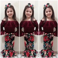 New Baby Girl Off Shoulder Velvet Top+ Flower Bowknot Bellbot...