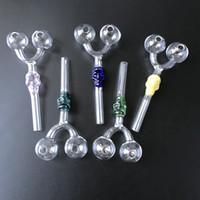 Pipe Tubi di fabbrica all'ingrosso doppio bruciatore Vetro Teschio vetro Pyrex Oil Burner tubi colorati Dab strumento di vetro per Fumatori SW29