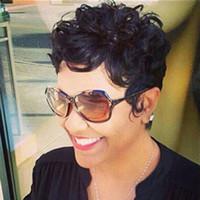Siyah Kadınlar için kısa İnsan Saç Peruk Kıvırcık Makine Yapımı Yok Dantel Peruk Bakire Saç Kısa Ünlü Peruk