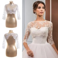 New Arrival. Cheap Ivory Wedding Wraps Lace Half Sleeve Hollow Bridal  Jackets White Shawl ... 26feb6bb78fc