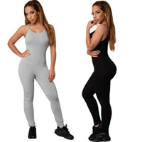 Black Gray One-piece Yoga Sports Jumpsuits Women Sexy Sleeveless Gym  Clothes Female Sexy Running Slim Sport Suits Dance Set 3148ea67917