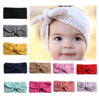 Europa infantil bebê de malha Headbands Orelhas de coelho faixas de cabelo meninas Childrens BowKnot acessórios de cabelo Lovely Kids Headwraps 12 cores