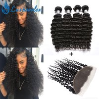Brazilian Virgin Hair Bundles With 13x4 Lace Frontal Deep Wa...