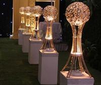 H27in Globe stand de bodas Mesa de Evento centros de mesa altos PLATA o ORO, candelero de bola de metal de cristal