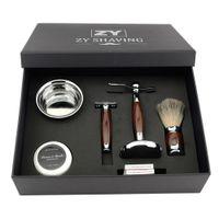 Venta al por mayor Men Luxury Shaving Gift Set Kit Double Edge Safety Razor Badger Hair Shaving Brush Holder Stand + Mug Bowl + Shave Barba Jabón